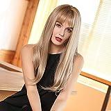HAIRCUBE Peluca de pelo con encanto, rubio ceniza, larga para mujer, parte media, 50,8 cm, natural, recta, resistente al calor, para mujeres blancas con flequillo