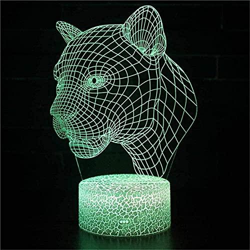 Lonfencr 3D ilusión luz leopardo control táctil USB accionado lámpara de mesa 16 colores cambiar mejor regalo USB Power Touch Control