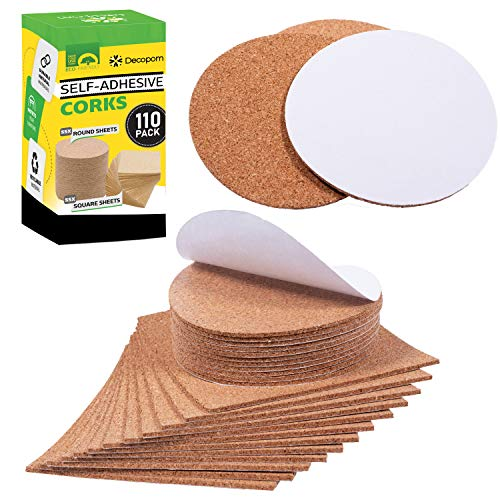 """Self Adhesive Cork Squares and Round - Premium 110 Pack Mini Corks 4"""" x 4"""" Board Sheets Tiles with 1/8"""" Thickness - Natural Corkboard Mats for Backing Also Used as Coasters DIY Drawing Craft Wall"""
