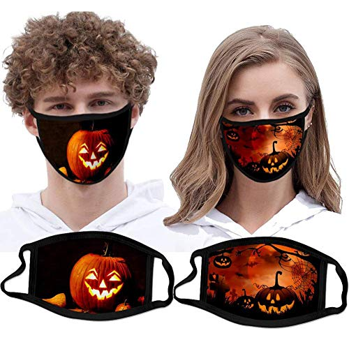 2 Pcs Halloween Mask Unisex Washable and Reusable Soft Cotton Material Halloween Face Protection Bandana Anti-Wind Dustproof Balaclavas Adults Protection Facescarf Headband Dust Smoke Pollution