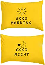 VM VOUGEMARKET Yellow Bedding Cotton Pillowcases(Pack of 2)-100% Cotton Standard Kids Pillow Covers with Envelope Closure End,20×26(Queen,Sun&Moon)