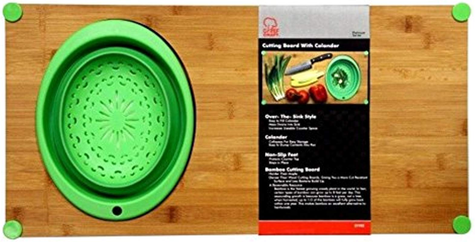 Chef Craft 21935 Cutting Board With Collapsible Colander