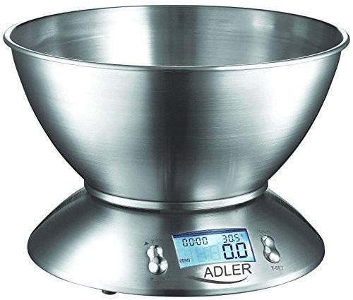 Adler AD-3134 Balanza electrónica, 0 W, 0 Decibelios, Acero Inoxidable, Plateado