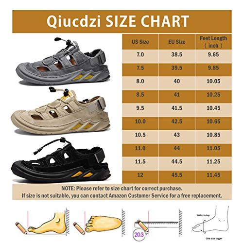 Qiucdzi Men's Outdoor Hiking Sandals, Closed Toe Athletic Sport Sandals Adjustable Fisherman Shoes for Beach Trail Walking Summer Grey