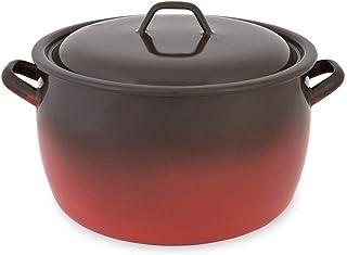 Menax - Olla de Cocina con Tapa - Modelo Fuego - Acero Vitrificado - 12 Litros