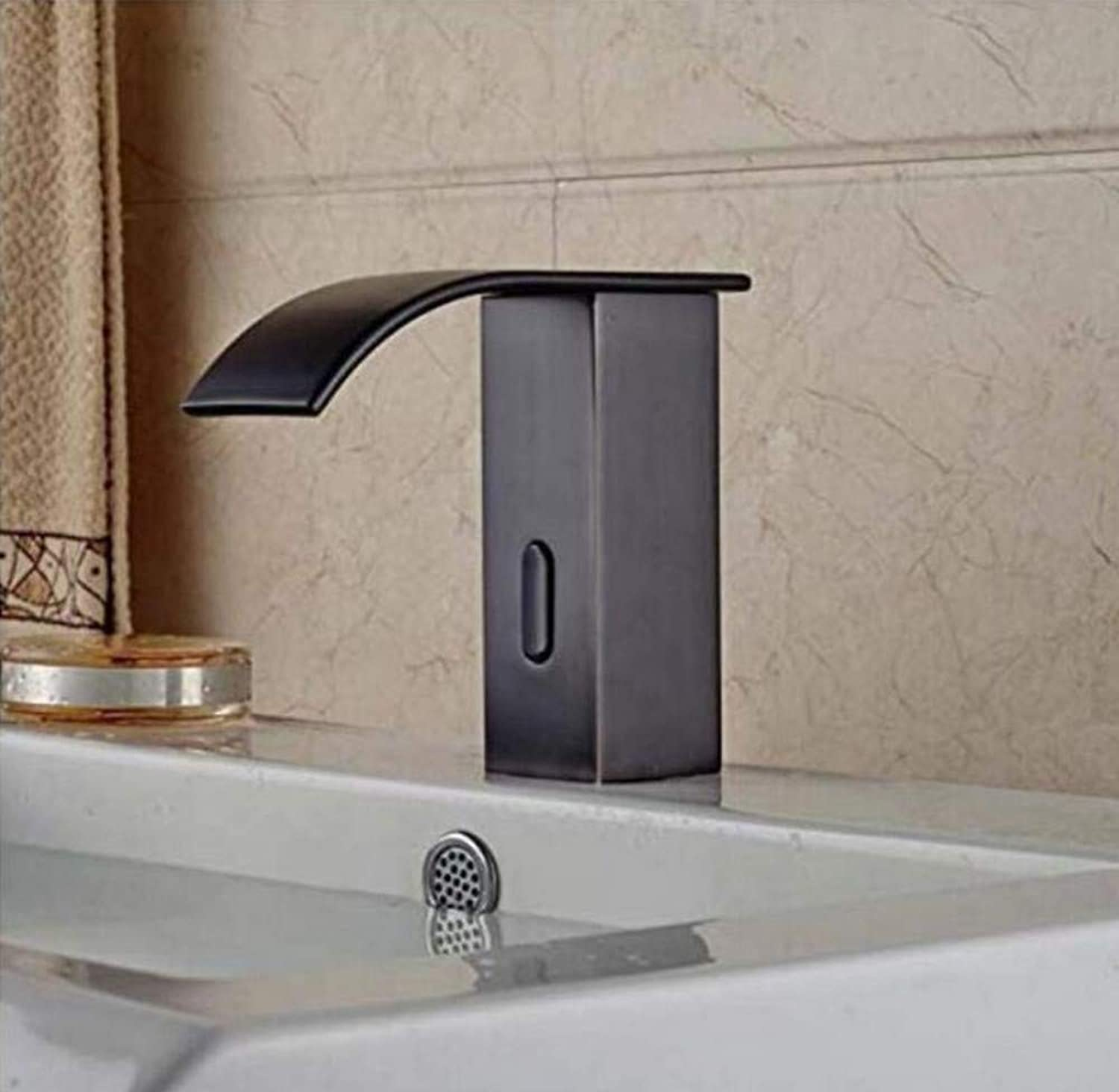 Chrome Vintage Brass Oil Rubbed Bronze Brass Bathroom Waterfall Basin Faucet Sensor Induction Sink Water Tap
