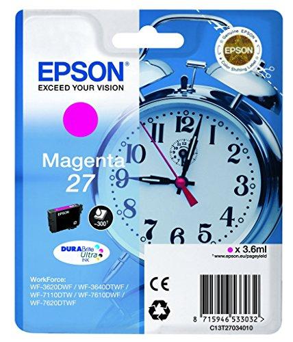 Epson 27 Magenta Wecker Hochleistungs-Original, DuraBrite Ultra-Tintenpatrone, Amazon Dash Nachschub bereit