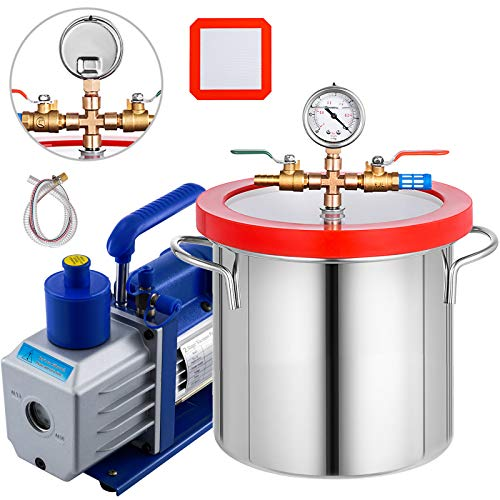 Bestauto 5CFM Two-Stage Vcuum Pump Stainless Steel Vacuum Pump HVAC 110V AC Vacuum Pump with 2 Gallon Vacuum Chamber (5CFM Vacuum Pump 2 Stage + 2 Gallon Vacuum Chamber)