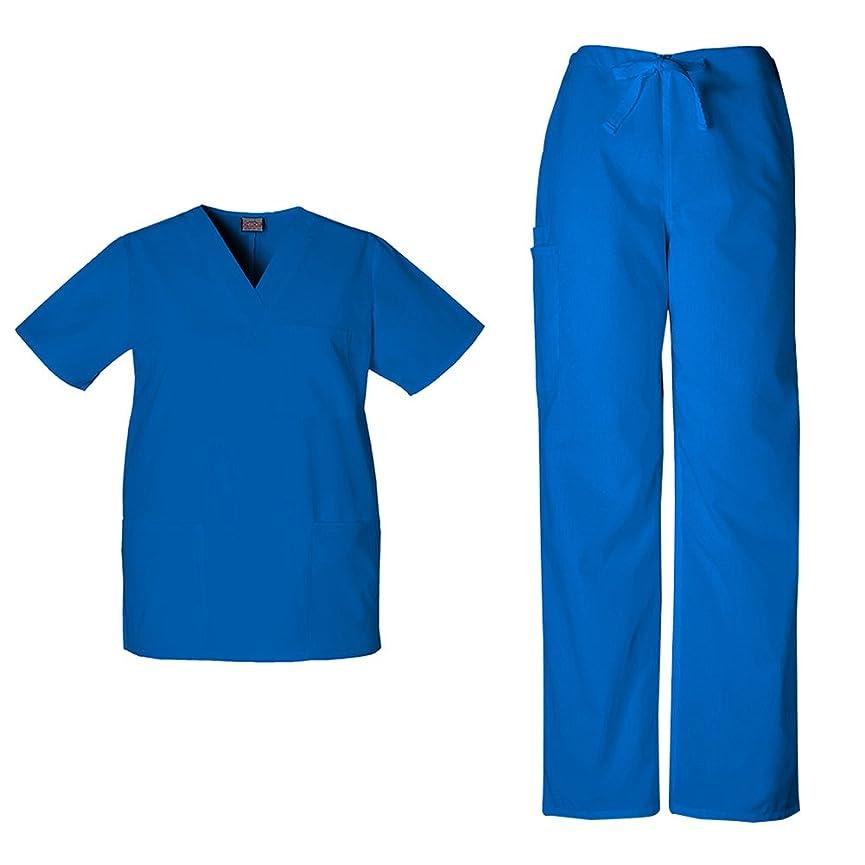 カテナ責めママチェロキーワークウェアユニセックスVネックトップ4876?& Drawstring Pant 4100スクラブセット カラー: ブルー