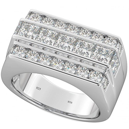 Mens 925 Sterling Silver Ring - Classic Mens CZ Wedding Engagement Band Ring S