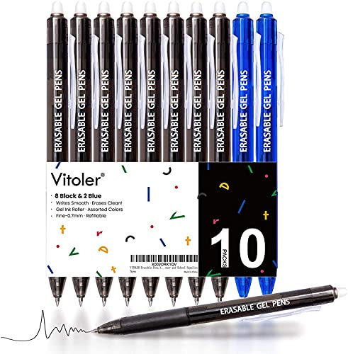 VITOLER Erasable Gel Pens, Retractable Erasable Gel Pen Clicker, Fine Point 0.7 mm, Smooth Ink for Drawing Writing Completing Sudoku and Crossword...