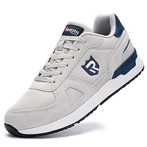 LARNMERN Zapatillas de Deporte Hombres Antideslizante Antiestático Running Zapatos para Correr Gimnasio Sneakers Deportivas Transpirables(Gris 47)