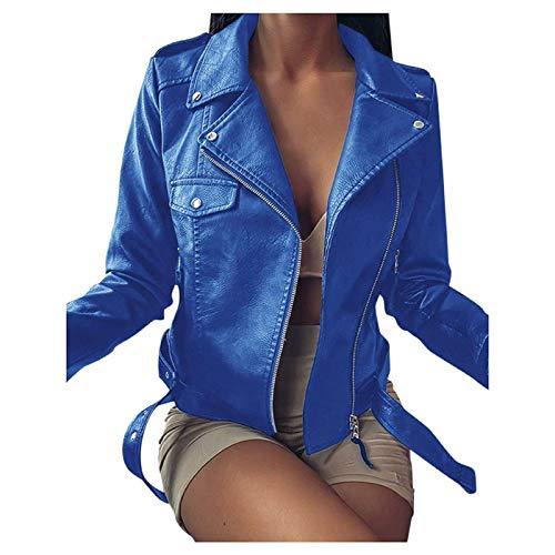 Kovaky Chaqueta de cuero para mujer otoño invierno abrigos de piel sintética moda sexy delgado más tamaño cremallera corto chaqueta de moto negro S-5XL