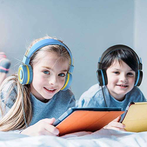 iClever HS14 Kids Headphones, Headphones for Kids with 94dB Volume Limited for Boys Girls, Adjustable Headband, Foldable, Child Hea   dphones on Ear for Study Tablet Airplane School, Black