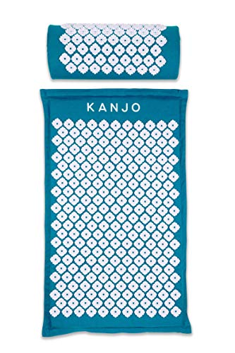 Kanjo Premium Acupressure Mat amp Acupressure Pillow Set | High Density Memory Foam Core | 100% Organic Cotton Cover | Relieves Back Pain amp Neck Pain | Includes Carry Bag | Sapphire