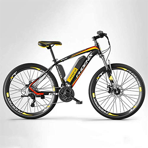 YAOSHUYANG Electric Bike Adult Mountain Electric Bike Mens, 27 Speed Off-Road Electric Bicycle, 250W Electric Bikes, 36V Lithium Battery, 26 Inch Wheels (Color : A, Size : 10AH)