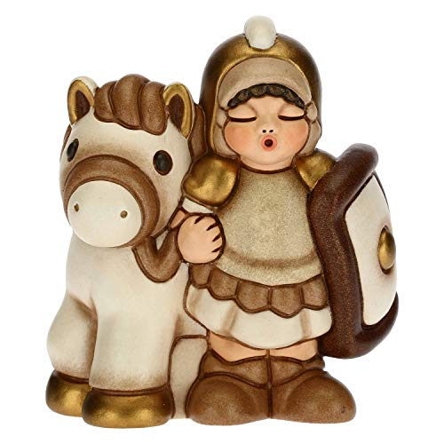 THUN - Statuina Presepe Soldato con Cavallo - Decorazioni Natale Casa - Linea Presepe Classico, Variante Bianca - Ceramica - 7,5 x 5,5 x 8,5 h cm
