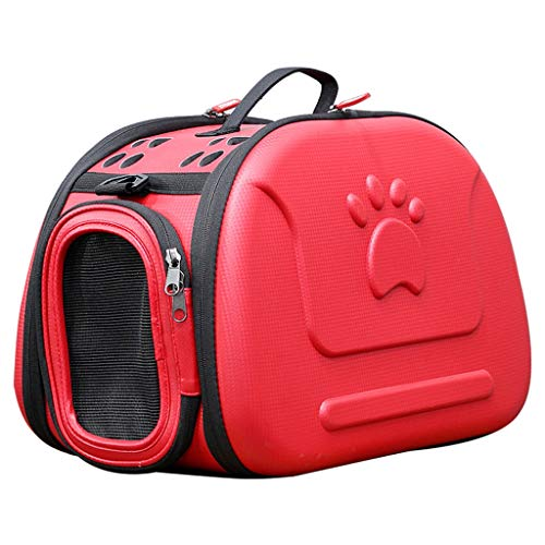 XMSG Portable Pet Backpack Soft-Sided Collapsible EVA Pet Travel Carrier with Mesh Windows, Porous Design, Best for Small Dogs and Cats,Red