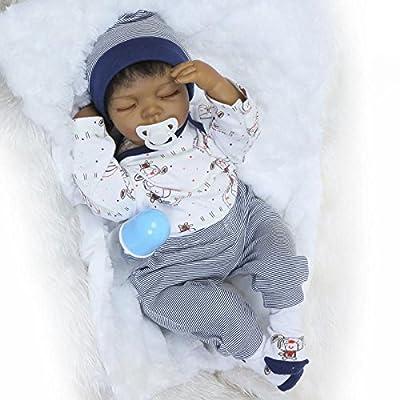 """OCSDOLL MaiDe Reborn Baby Doll 20 """" Realistic Soft Silicone Vinyl Dolls Newborn Black Baby Dolls African American Doll"""