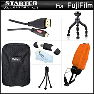 Starter Accessories Kit For Fuji Fujifilm FinePix XP60 Waterproof Digital Camera Includes Deluxe Carrying Case + 7 Flexible Tripod + Micro HDMI Cable + Floating Strap + USB High Speed 2.0 SD Card Reader + Mini TableTop Tripod + MicroFiber Cleaning Cloth