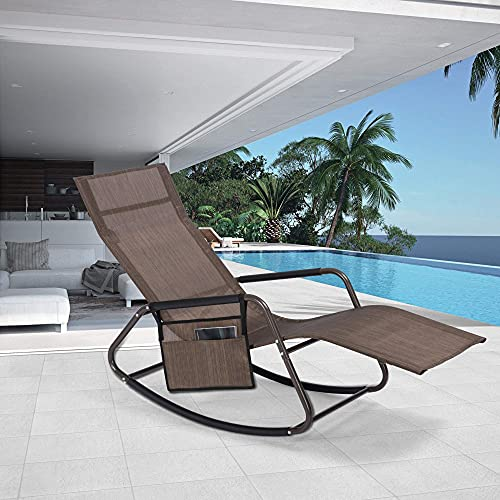 Mansion Home Outdoor Chaise Recliner with Side Pocket, Oversized Zero Gravity Chair for Patio & Lawn, Lounge Reclining Chairs for Outside Pool & Beach, Chaise Lounge, Brown