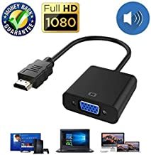 HDMI to VGA Cable Adapter Converter 15 Pin d Sub, HDMI Gold with Audio Male to VGA Female Connector Cord for Laptop Computer Connect to Monitor, Apply to PC, MAC, PS4, Projector etc (with Audio)