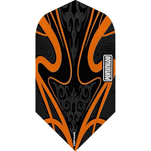 PENTATHLON TDP Lux Dart Flights, Black Series–Slim, 5Sets (15) orange–inklusive Darts Ecke gebogen Kugelschreiber