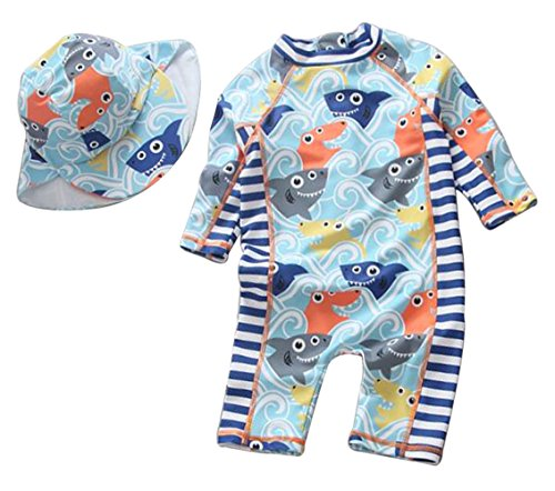 Baby Boy One Piece Long Sleeve Sunsuits Zipper Rash Guard Sun Protection with Swimming Hat Size 9-12M (Blue)