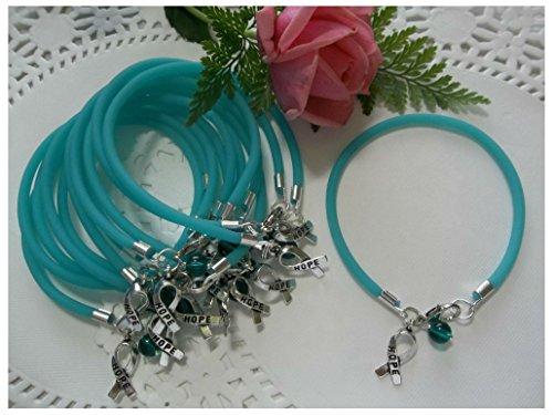 1 DZ Ovarian Cancer/TRIGEMINAL Neuralgia/PKD Awareness Bracelets/Teal/Round Bead