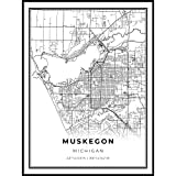 Skanndi Muskegon Map Print, Michigan MI USA Map Art Poster, Lake Michigan, Modern Wall Art, Street Map Artwork 11x14