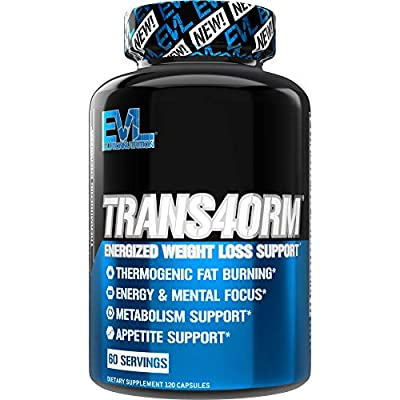 Evlution Nutrition Trans4orm - Complete Thermogenic Fat Burner for Weight Loss, Clean Energy and Focus with No Crash, Boost Metabolism, Suppress Appetite, Diet Pills, 60 Servings from Evlution