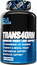 Evlution Nutrition Trans4orm - Complete Thermogenic Fat Burner for Weight Loss, Clean Energy and Focus with No Crash, Boost Metabolism, Suppress Appetite, Diet Pills, 60 Servings