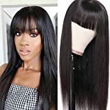 Liwihas Silky Brazilian Virgin Straight Human Hair Wigs with Bangs 130% Density None Lace Front Wigs Glueless Machine Made Wigs for Black Women Natural Color (24inch)