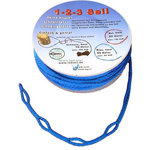 1-2-3-Seil blau Spezialseil Länge 30 Meter Ø 4 mm
