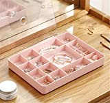 clear plastic jewelry display - Mvchif Jewelry Storage Box Clear Plastic Jewelry Display Tray Organizer Case with Lid for Earrings Bracelet Necklace (Pink)