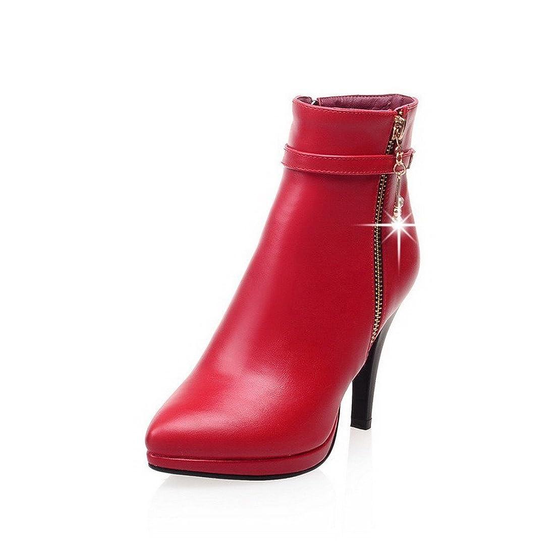 最初は盗難無限大(ウンファッション) WeenFashion ピンヒール 人工ダイヤモンド ジッパー 金属飾り 短靴