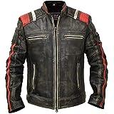 Cafe Racer Vintage Retro Distressed Biker Black Cowhide Leather Jacket - Moto Leather Jacket Men (Medium)