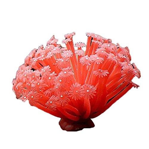 Bobury Künstliche Seeanemone nachgeahmte korallenrote Verzierungen 15 * 10cm für Fisch Behälter Aquarium Dekoration
