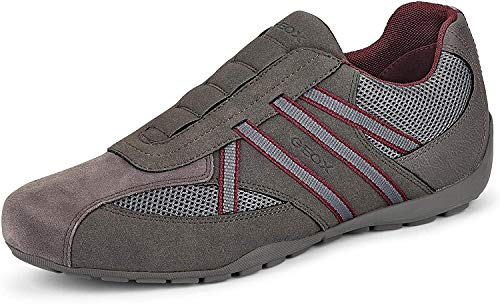 Geox Herren Sneaker U RAVEX, Männer Slip-On Sneaker, lose Einlage, Halbschuh sportschuh Slipper Gummizug Herren,Anthracite/Bordeaux,44 EU / 10 UK