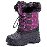 UBFEN Womens Snow Boots Winter Warm Outdoor Slip Resistant Waterproof Cold Weather High Top Shoes Purple