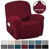H.VERSAILTEX Stretch Recliner Slipcovers 1-Piece Durable Soft High Stretch Jacquard Sofa Furniture Cover Form Fit Stretch Stylish Recliner Cover/Protector (Recliner, Burgundy Red)