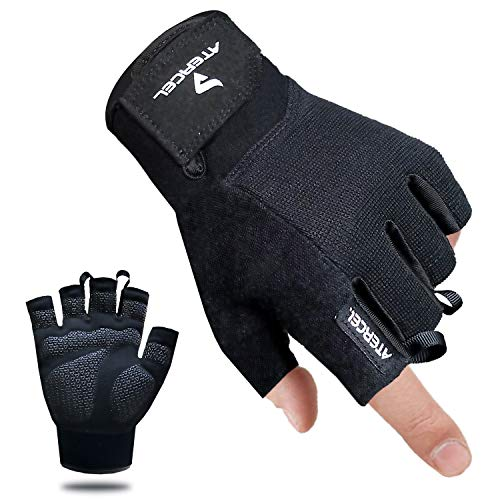 Atercel Workout Gloves, Best Exercise Gloves for Weight Lifting, Cycling, Gym, Training, Breathable & Snug fit, for Men & Women (Black, M)