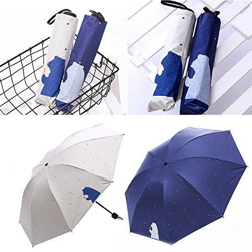 Mini paraguas plegable de verano con diseño de oso de dibujos animados...
