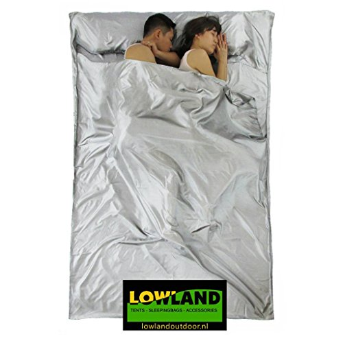 LOWLAND OUTDOOR® Hüttenschlafsack - Seide - für Berghütten, Backpacking und Hotels (220x160, 2 Personen)