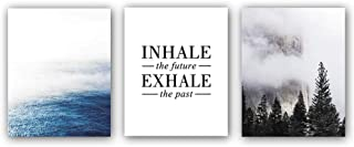 Abstract Scenery Mountain&Sea Forest Landscape, INHALE the future EXHALE the past Quote Lettering Inspirational Wall Art Pieces,3 Piece 8x10 Canvas Poster Picture,Modern Natural Mural Print For Office