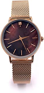 Waterproof Watch Rose Amber Pink Brown Woman Girl Lady Student Simple Diamond Rhinestone Ultra-Thin Quartz Watch Stainless Steel Mesh Belt Fashion Raincoat 3ATM 3ATM (Color : Brown)