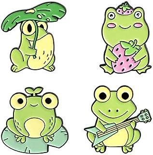 Esmalte Pin Frog Lotus Leaf Broches Bolsa Pin de solapa Cartoon Animal Badge Gift-Set