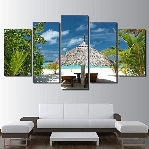 baqianli Malerei 5 Panel Pavillon Durch Das Meer,Wohnzimmer Schlafzimmer Wandkunst Dekorative Bilder Druckt 5 Panel Leinwand Malerei150Cmx80Cm(OhneRahmen
