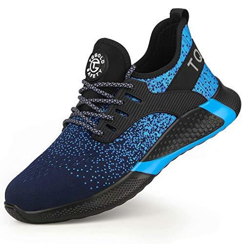 TQGOLD Chaussure de Securité Homme Femmes S3 Baskets Légères et Antidérapantes Chaussures de Travail avec Embout de Protection en Acie(Bleu,39)