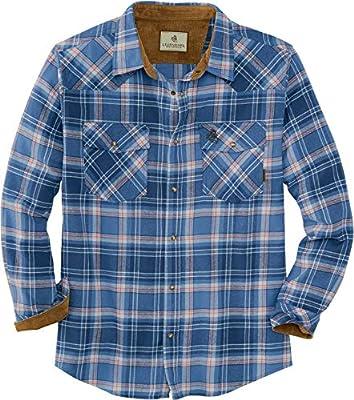 Legendary Whitetails Men's Shotgun Western Flannel, Bronco Denim Plaid, X-Large